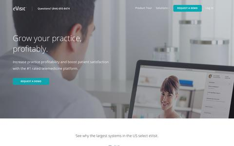 Screenshot of Home Page evisit.com - eVisit | Top-rated telemedicine platform for providers. - captured July 4, 2018