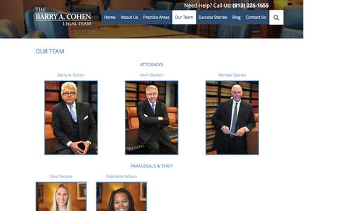 Screenshot of Team Page tampalawfirm.com - Tampa Legal Team - The Barry A. Cohen Legal Team | Tampa Attorneys - captured Nov. 22, 2016