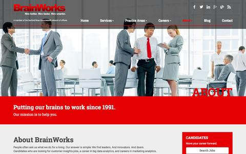 Screenshot of About Page brainworksinc.com - Customer Insights Jobs | BrainWorks - captured Feb. 8, 2016