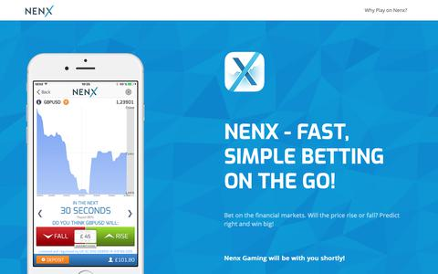 Screenshot of Home Page nenx.com - Nenx - Fast,  Simple Betting on Markets - captured Oct. 18, 2018