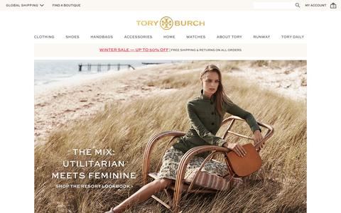 Screenshot of Home Page toryburch.eu - Tory Burch | Women's Clothing, Dresses, Shoes, Handbags & Accessories - captured Feb. 8, 2016