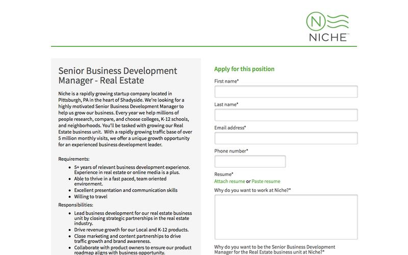 Senior Business Development Manager - Real Estate -			Niche.com - 			Job Board