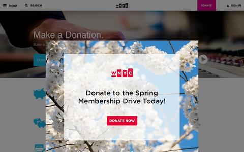 Screenshot of Support Page wnyc.org - Support WNYC - captured May 16, 2016