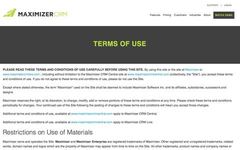 Terms of Use - Maximizer CRM