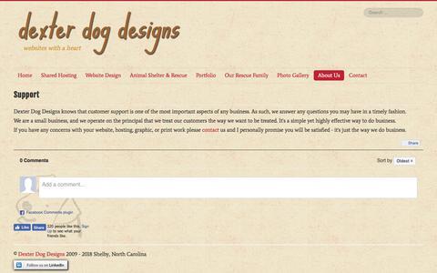 Screenshot of Support Page dexterdogdesigns.com - Dexter Dog Designs - Support - captured Aug. 6, 2018