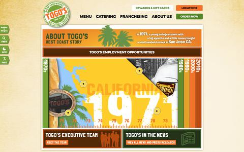 Screenshot of About Page togos.com - Togo's - West Coast Story - captured Oct. 24, 2017