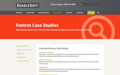 Screenshot of Case Studies Page enablesoft.com - EnableSoft | Foxtrot Case Studies - captured Oct. 2, 2014