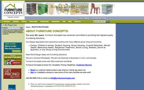 Screenshot of About Page furnitureconcepts.com - Furniture Concepts |           About Furniture Concepts - captured Sept. 30, 2014