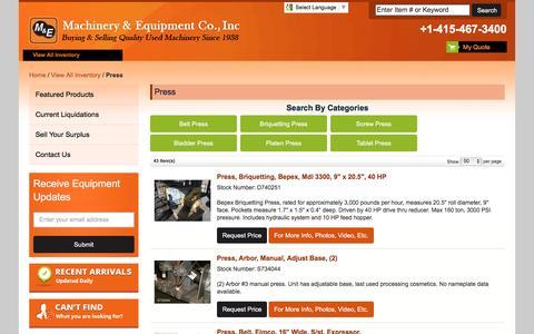 Screenshot of Press Page machineryandequipment.com - Large Inventory of Used Presses | Machinery and Equipment - captured Feb. 2, 2016