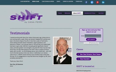 Screenshot of Testimonials Page shiftbydanaperri.com - Testimonials | SHIFT by Dana Perri - captured Sept. 30, 2014