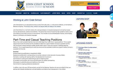 Screenshot of Jobs Page johncolet.nsw.edu.au - Current Positions at John Colet School - captured July 1, 2018