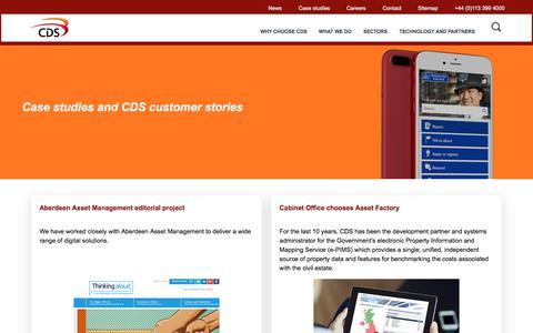 Screenshot of Case Studies Page cds.co.uk - Case studies | CDS - captured July 8, 2017