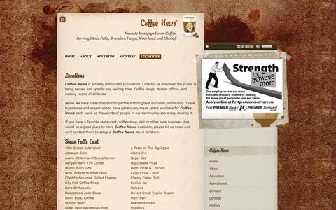 Screenshot of Locations Page coffeenewssiouxfalls.com - Coffee News of Sioux Falls » Locations - captured Oct. 3, 2014