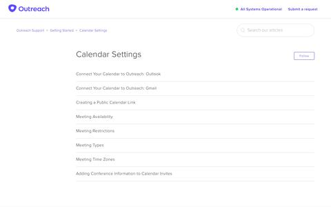 Screenshot of Support Page outreach.io - Calendar Settings – Outreach Support - captured Dec. 11, 2018