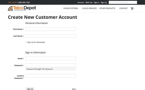 Screenshot of Signup Page telcodepot.com - Create New Customer Account - captured Sept. 20, 2018