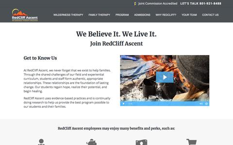 Screenshot of Jobs Page redcliffascent.com - Employment At Redcliff Ascent - RedCliff Ascent wilderness therapy for troubled teens - captured Dec. 8, 2019