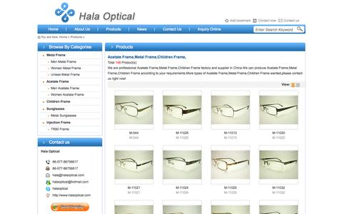 Screenshot of Products Page halaoptical.com - China Acetate Frame,Metal Frame,Children Frame Factory,Supplier - Hala Optical - captured Sept. 30, 2014