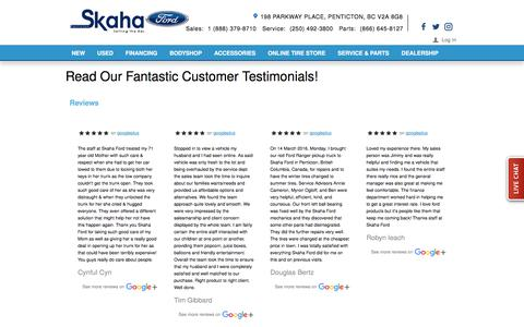 Screenshot of Testimonials Page skahaford.com - Testimonials - captured Nov. 2, 2017