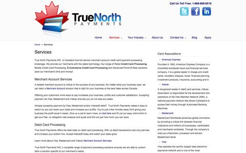 Screenshot of Services Page truenorthpayments.com - Canadian Merchant Services | Credit & Debit Card Processing | Virtual Terminal | Internet Merchant Services - captured Oct. 9, 2014