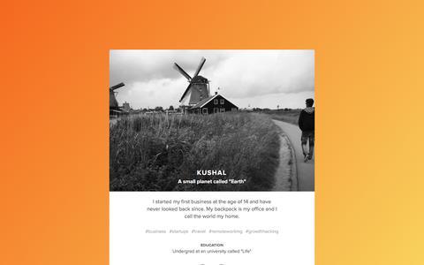 Screenshot of Home Page kushalraha.com - Kushal - CEO / Serial Entrepreneur / Traveller / Doer - captured Feb. 12, 2016