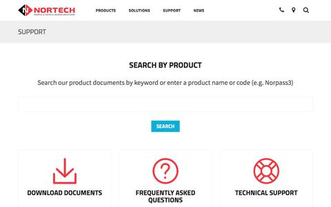 Screenshot of Support Page nortechcontrol.com - Nortech product search  | Nortech Control Systems Ltd - captured Dec. 15, 2016