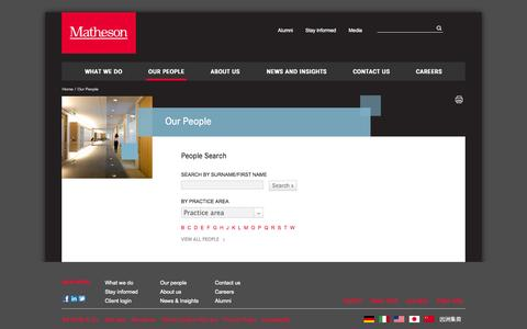 Screenshot of Team Page matheson.com - Our people | Irish lawyers - captured Oct. 27, 2014
