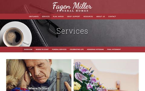 Screenshot of Services Page fagenmiller.com - Fagen Miller Funeral Homes | Highland, St. John, Dyer & Griffith, IN - captured July 3, 2018