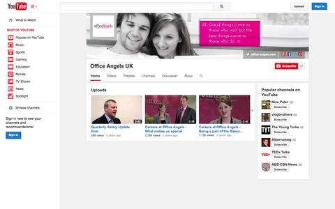 Screenshot of YouTube Page youtube.com - Office Angels UK  - YouTube - captured Oct. 29, 2014