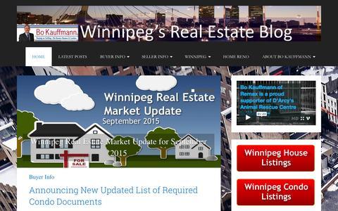 Screenshot of Blog winnipeghomefinder.com - Winnipegs Real Estate Blog - Info and Tips for Buyers and Sellers of Winnipeg Real Estate - captured Sept. 25, 2015