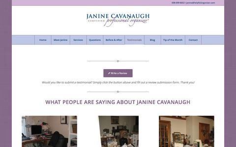 Screenshot of Testimonials Page helpfulorganizer.com - Janine helped me organize - captured Nov. 26, 2016