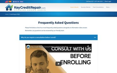 Screenshot of FAQ Page keycreditrepair.com - Frequently Asked Questions About Credit Repair | Key Credit Repair - captured March 13, 2019