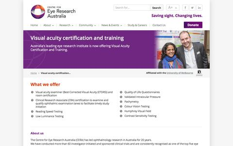 Screenshot of Services Page cera.org.au - Visual acuity certification and training | CERA - captured July 21, 2017