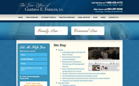 Screenshot of Site Map Page lauderdaledefense.com - Site Map | The Law Office of Gustavo E. Frances, P.A. | - captured Oct. 6, 2014