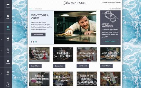 Screenshot of Jobs Page rickstein.com - Hospitality career and job opportunities with Rick Stein - captured Sept. 22, 2018