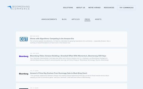 Screenshot of Press Page boomerangcommerce.com - Press — Boomerang Commerce - captured Oct. 3, 2018
