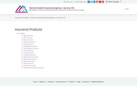 Screenshot of Products Page dennishowellagency.com - Insurance Products - Dennis Howell Insurance Agency - Aurora, CO. - captured Oct. 12, 2017