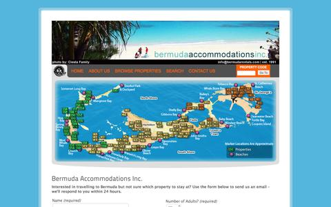 Screenshot of Home Page bermudarentals.com - Bermuda Accommodations Inc. | Bermuda vacation rental properties for a wide range of budgets, from basic bachelor suites to luxurious villas. - captured Feb. 7, 2016