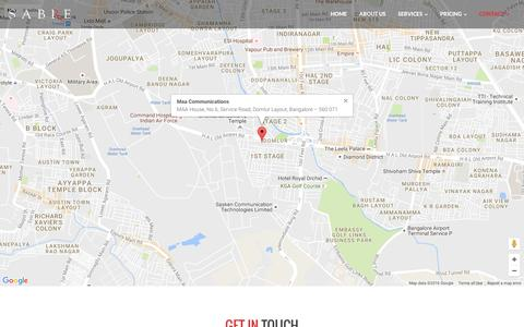 Screenshot of Contact Page Maps & Directions Page sabreindia.in - A Lead Generation & Creative Agency in Indira Nagar, Bangalore, India - captured Nov. 18, 2016