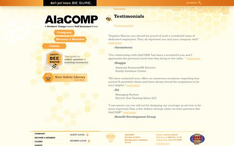 Screenshot of Testimonials Page alacompins.com - Testimonials | AlaCOMP Workers' Compensation Insurance - captured Oct. 7, 2017