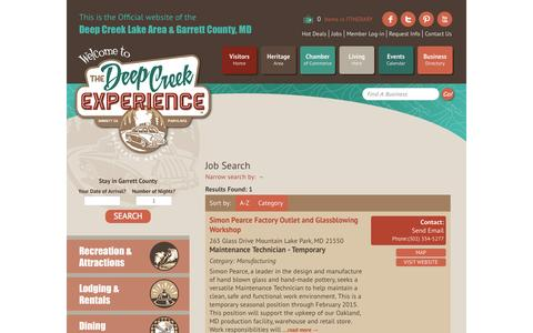Screenshot of Jobs Page visitdeepcreek.com - Job Search - Deep Creek Lake Area Garrett County Chamber of Commerce - MN Jobs - captured Oct. 26, 2014