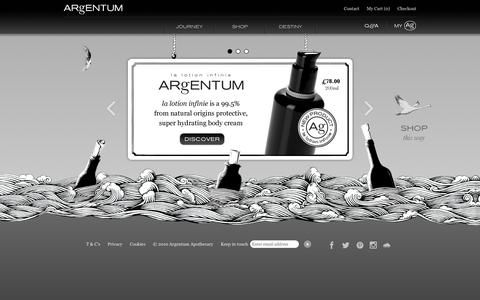 Screenshot of Home Page argentumapothecary.com - ARgENTUM apothecary - captured May 28, 2017