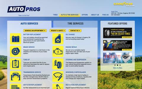 Screenshot of Services Page autopros.com - Auto Repair Services in Eugene, OR | Auto Pros - captured Oct. 16, 2016