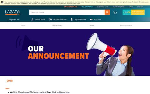 Screenshot of Press Page lazada.sg - Our Announcements_Press and Media - captured May 31, 2018