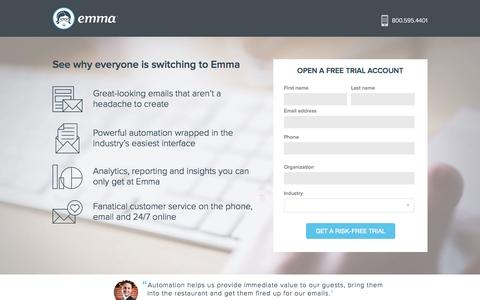 Screenshot of Trial Page myemma.com - Get Started - Email Marketing Contact Form | Emma, Inc. - captured Nov. 17, 2015