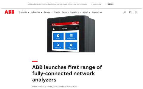 Screenshot of Press Page abb.com - ABB launches first range of fully-connected network analyzers - captured Nov. 9, 2019