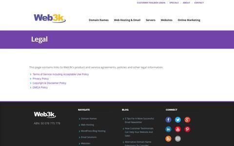 Screenshot of Terms Page web3k.com.au - Legal - Web3k - captured Dec. 21, 2016