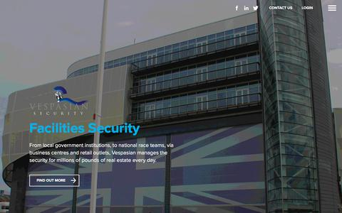Screenshot of Home Page vespasiansecurity.co.uk - Welcome | Vespasian Security - captured Sept. 20, 2018