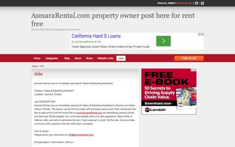 Screenshot of Jobs Page asmararental.com - Jobs Asmara Rental has  opening for Sales & Marketing Assistant - captured Sept. 30, 2014