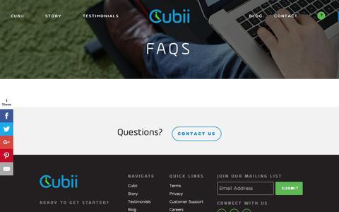 Screenshot of FAQ Page mycubii.com - FAQs - Cubii - captured July 6, 2016