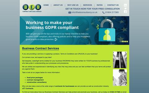 Screenshot of Terms Page bebconsultancy.co.uk - Business Contracts Services Northampton - captured Oct. 4, 2018